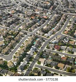 Aerial view of sprawling Southern California urban housing development.