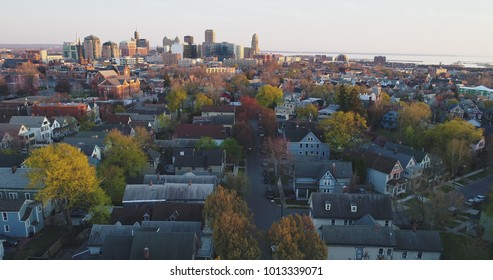 Aerial view of spring colors in Buffalo, NY