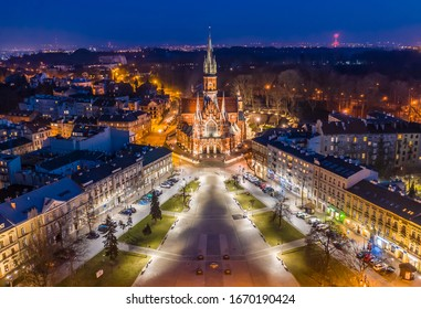 Aerial view of Podgórski Square with St. Joseph's Church in Cracow, Poland