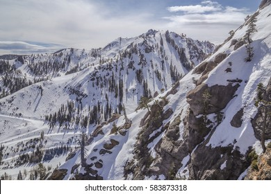 Aerial View of Squaw Valley Snow-capped Mountain, Squaw Valley, Alpine Meadows Ski Resort California. The 1960 Winter Olympics was a winter multi-sport event held in 1960 in Squaw Valley