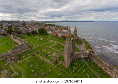 Aerial View of St Andrews Cathedral ruins. Fife, Scotland.