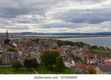 Aerial View of St Andrews town. Fife, Scotland.