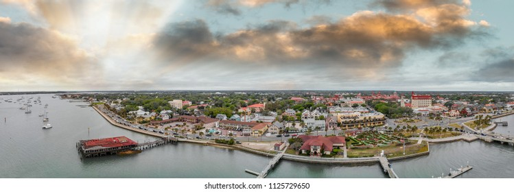 Aerial view of St Augustine from drone. Sunset panorama from city river, Florida - USA.