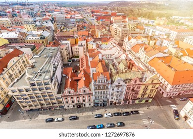 Aerial view from St Bartholomews cathedral over Republic Square. Pilsen or Plzen, in Bohemian region Czech Republic.