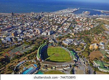Aerial view of the St George's Cricket ground and Port Elizabeth in South Africa