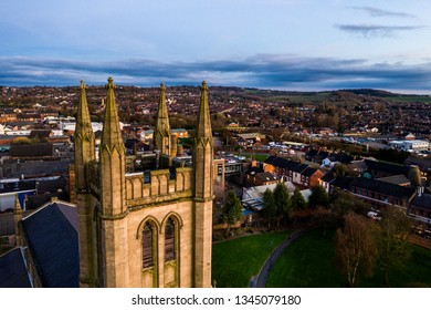 Aerial view of St Jame's church in the midlands, Christian, Roman catholic religious orthodox building in a mainly muslim area of Stoke on Trent in Staffordshire, City of Culture