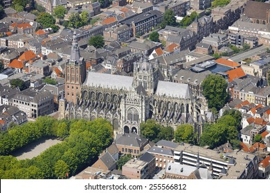 Aerial view of the St. John cathedral in the city of 's-Hertogenbosch, province of Noord-Brabant, the Netherlands.