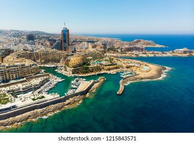 Aerial view of St. Julian's city and Portomaso tower. Malta
