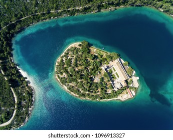 Aerial view of St. Mary island on island of Mljet, Croatia