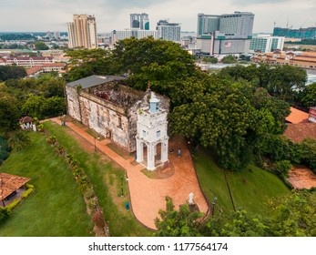 Aerial view of St. Pauls Church in Malacca City, Malaysia, St Paul's hill