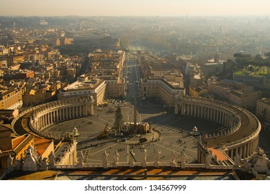 Aerial view of St. Peter's Square, Vatican City, Rome, Rome Province, Lazio, Italy