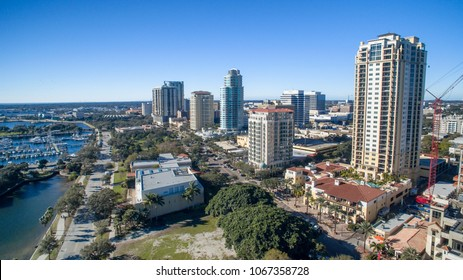 Aerial view of St Petersburg skyline, Florida.
