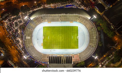 Aerial View Of Stadium At Night