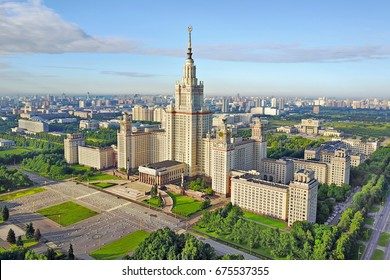 Aerial view of stalinist skyscraper building of University in the summer morning in Moscow, Russia