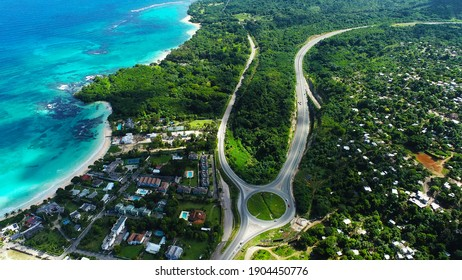 Aerial view of St.Ann's Bay Jamaica island of paradise