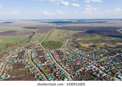 Aerial view of Staroe Ermakovo village, Samarskaya oblast
