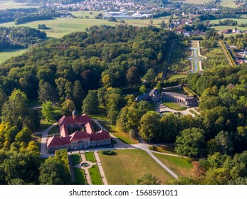 Aerial view of the State Hermitage Museum in Bayreuth, Bavaria, Germany