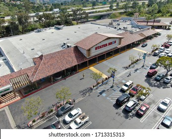 Aerial view of Stater Bros Grocery Store exterior and logo. San Diego, California, USA, April 19th, 2020
