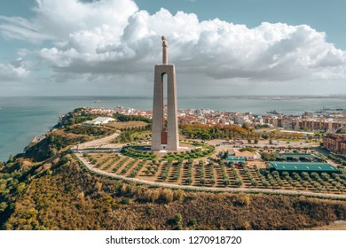 "Aerial view of the statue of ""Cristo-Rei"" in Lisbon, Portugal."