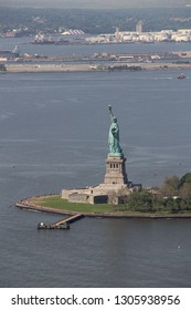 Aerial view of the Statue of Liberty on liberty Island in the New York harbor, this sculpture was given to the people of the Unted States of America by the   people of France