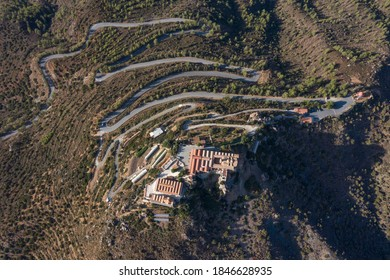 Aerial view at Stavrovouni monastery and serpents uphill.