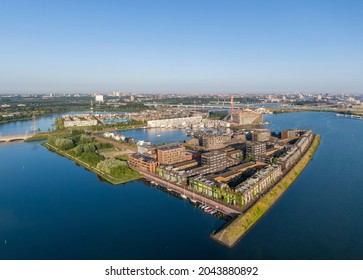 Aerial view of Steiger island and new residential district in Amsterdam, Netherlands