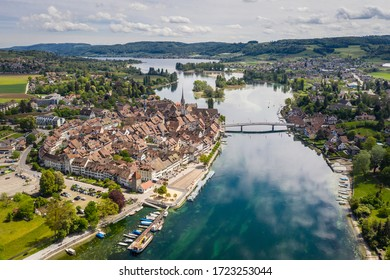 Aerial view of the Stein am Rhein medieval village by the Rhine river in Canton Schaffhausen in east Switzerland - Shutterstock ID 1723253044