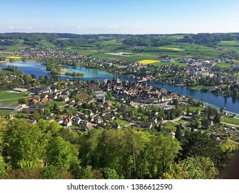 Aerial view of Stein am Rhein town in Switzerland