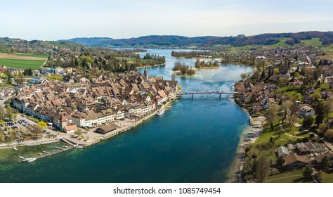 Aerial view of Stein Am Rhine, Schaffhausen, with the cross over bridge to the old town in Switzerland