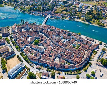 Aerial view of Stein-Am-Rhein medieval city near Shaffhausen, Switzerland