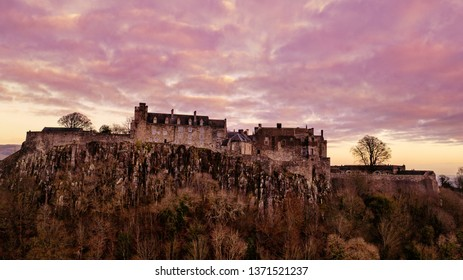 Aerial view of Stirling Castle on top of the rocky hill in central Scotland. It used to be a residence of Scottish kings.