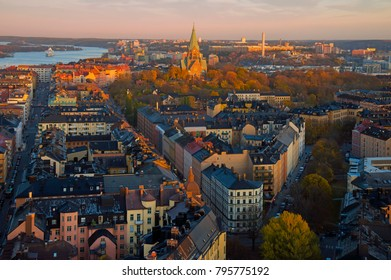 Aerial view of Stockholm City at dusk
