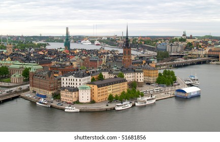 aerial view of stockholm city from top of the city hall
