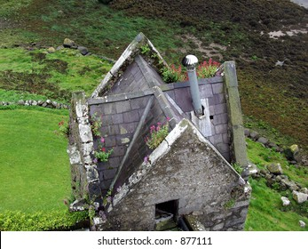 aerial view of a stone house
