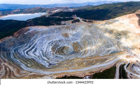 Aerial view of stone quarry in Bulgaria