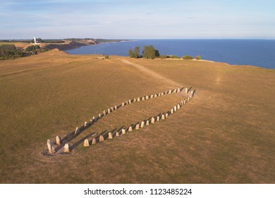 Aerial view of the stone ship Ales stones formed by 59 large boulders and 67 m long located at Kaseberga  in the Swedish province of Scania.