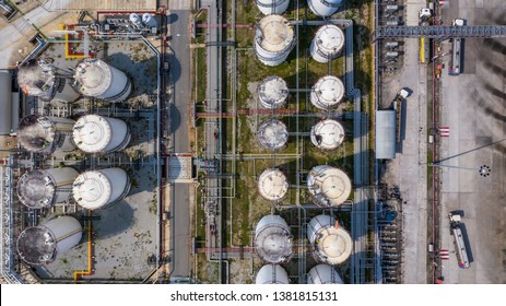 Aerial view storage tank and tanker truck in industrial plant, Chemical Industry.