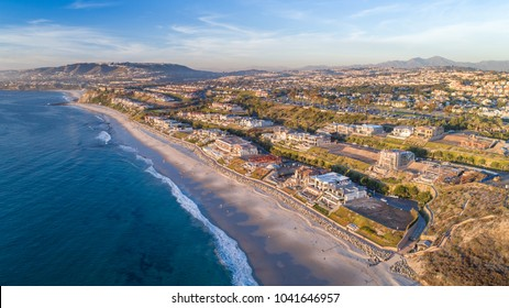 Aerial view of The Strand in Dana Point, California in Orange County on a sunny day.