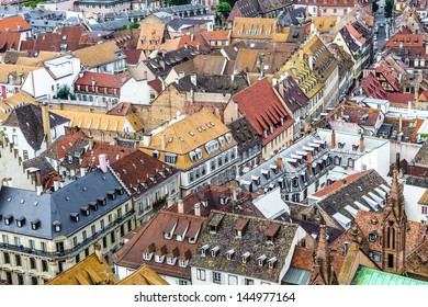 aerial view of Strasbourg  to the old city with red roof tiles