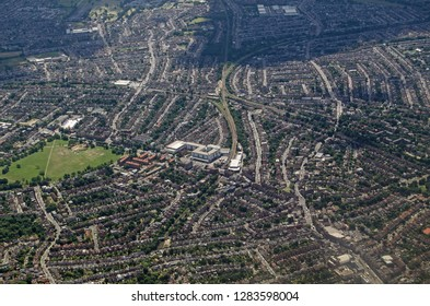 Aerial view of Streatham in South London.  Railway lines cross through this part of South London.
