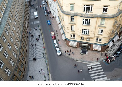 aerial view of street in old town of Prague