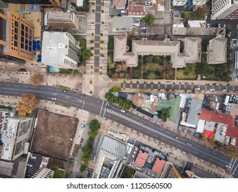 Aerial view of streets, schools and residential areas of a big city