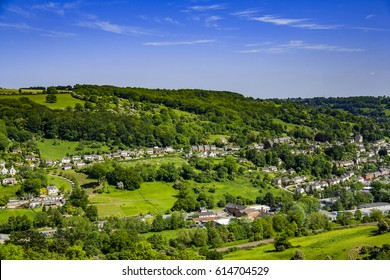 aerial view of stroud village / town gloucestershire cotswolds england uk