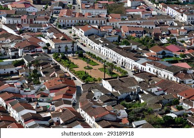 Aerial view of the structure of houses in the streets of Burguillos del Cerro, Extremadura, Spain