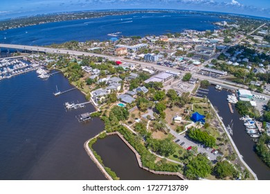 Aerial view of Stuart, small city in Southern Florida
