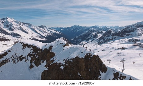 Aerial view from the Stubai glacier in Austria