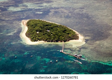 Aerial view of stunning Green Island in the Great Barrier Reef off the coast of Cairns in Tropical North Queensland, Australia