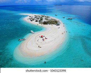 Aerial view of the stunning white sandbank with beautiful sandy beaches of Maldives