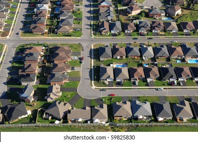 Aerial view of the subdivision in contemporary North American towns.