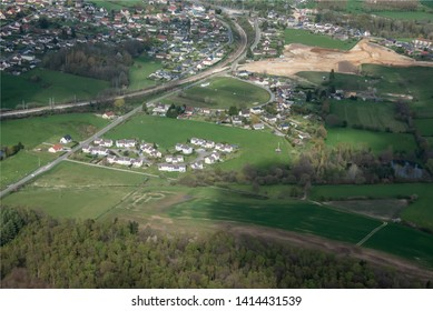 aerial view of a subdivision of Forges-les-eaux in the department of Seine Maritime in France